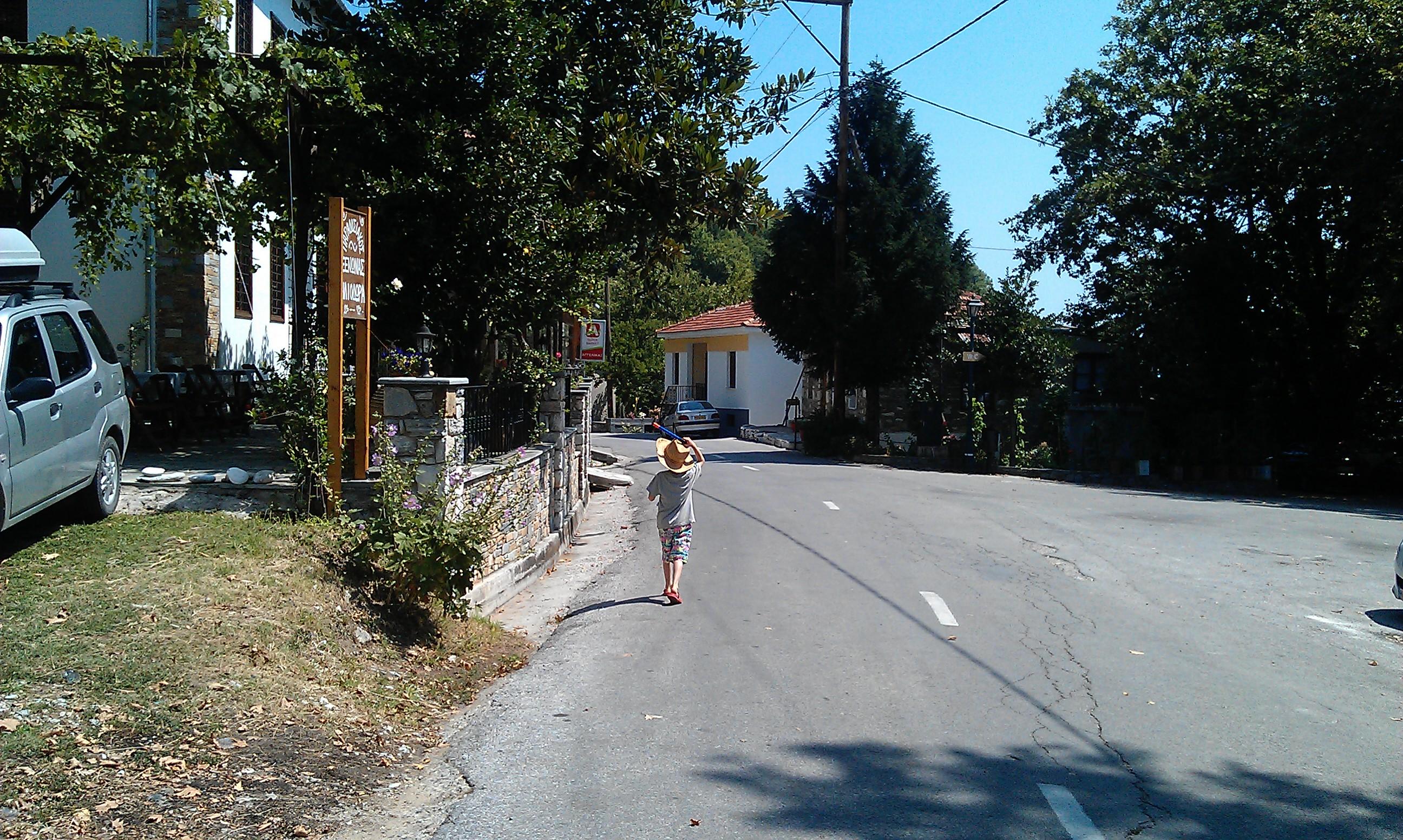 walking along a Greek Road