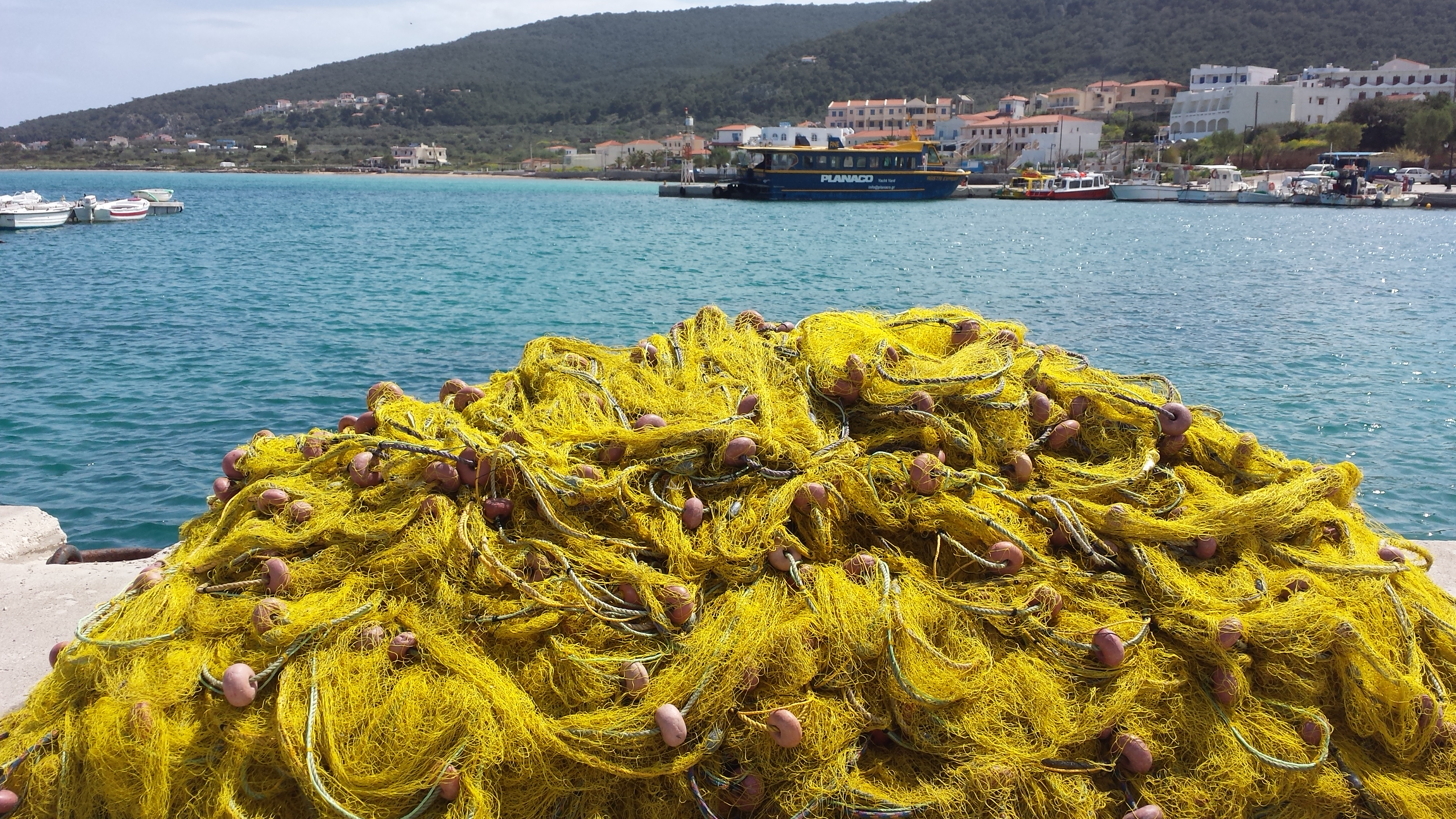 Fishing nets in harbour as we leave Greece